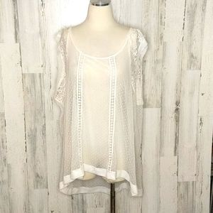 TORRID Off White Sheer Lace Top 4X